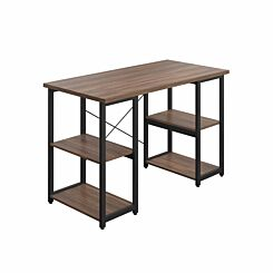 TC Office SOHO Home Working Desk with Square Shelves Walnut