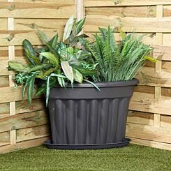 Wham Vista Traditional Corner Planters with Tray 49cm Set of 3