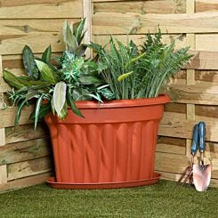 Wham Vista Traditional Corner Planters with Tray 49cm Set of 5 Terracotta