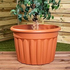 Wham Vista Traditional Round Planter 60cm Set of 3 Terracotta