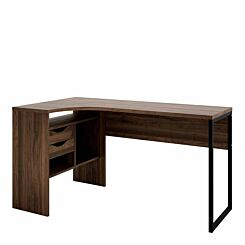 Function Plus Corner Desk with 2 Drawers Walnut