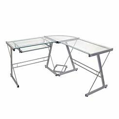Lunain Modern Metal Glass Corner Computer Desk 130cm Silver