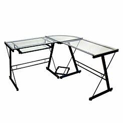 Lunain Modern Metal Glass Corner Computer Desk 130cm Black Frame