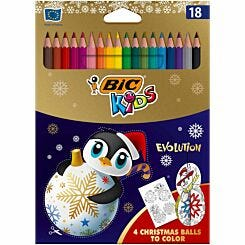 BiC Kids Evolution Colouring Pencils Christmas Edition Pack of 18