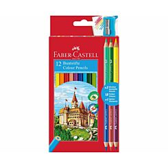 Faber Castell Colouring Pencils Pack of 12 with 3 Free Duo Pencils and Sharpener