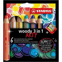 Stabilo Woody 3 in 1 Pencils Pack of 6