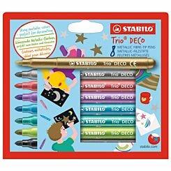 Stabilo Trio Deco Metallic Fibre Tip Pens Pack of 8
