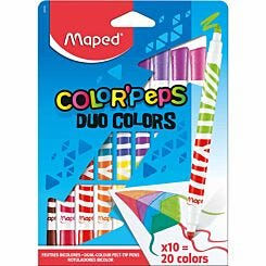 Maped Color Peps Duo Colour Felt Tips Colouring Pens Pack of 10