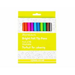 Ryman Bright Felt Tip Pens Pack of 12