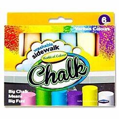 World of Colour Jumbo Sidewalk Chalks Pack of 6 Assorted
