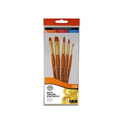 Daler Rowney Simply Gold Taklon Synthetic Brushes Pack of 5