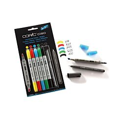 Copic Ciao Marker Pens Brights Pack of 5 Plus Copic Multiliner