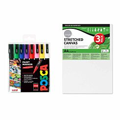 POSCA PC-3M 8 Piece Starter Pack with A4 Canvas Pack of 3