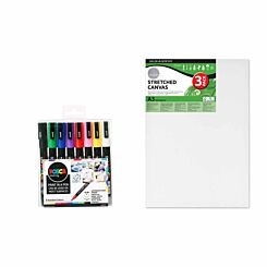 POSCA PC-3M 8 Piece Starter Pack with A3 Canvas Pack of 3