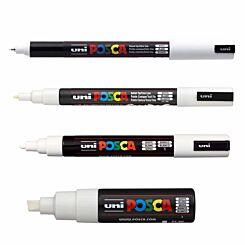 Posca Pens Assorted Nib Sizes Pack of 5 White