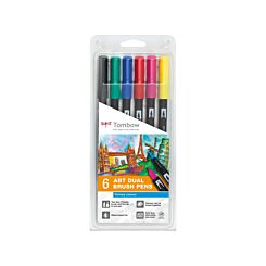Tombow Art Dual Brush Pens Primary Colours Pack of 6