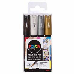 Uni Posca Marker Pen 0.7mm Monotones Set PC-1M Pack of 4
