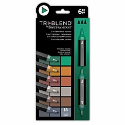 Spectrum Noir TriBlend 3 in 1 Blendable Markers Woodland Pack of 6