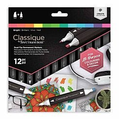 Spectrum Noir Classique Dual Tip Permanent Markers Bright Pack of 12