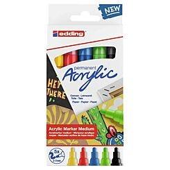 Edding Acrylic Paint Markers 2-3mm e-5100/5S Set of 5 Standard Colours