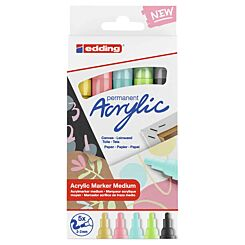 Edding Acrylic Paint Markers 2-3mm e-5100/5S Set of 5 Pastel