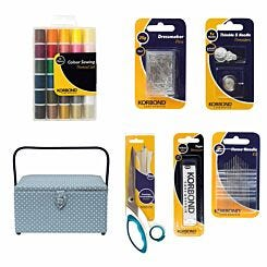 Korbond Deluxe Large Sewing Basket and Accessories Bundle