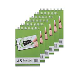 Ryman A5 Sketch Pad 130gsm Pack of 6