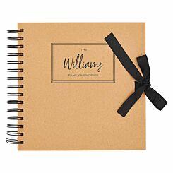 Personalised Scrapbook 8x8 Memories Black Foil Kraft