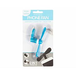 Portable Mini Mobile Phone Fan for iPhone and Android Blue