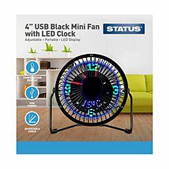 Desktop USB LED Clock Fan