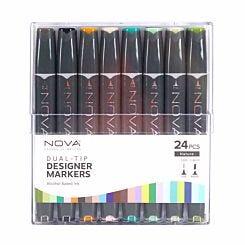 Nova Dual-Tip Designer Sketch Markers Pack of 24 Nature