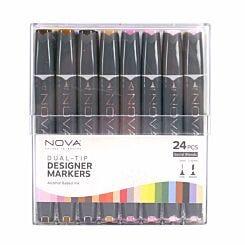 Nova Dual-Tip Designer Sketch Markers Pack of 24 Social Blends