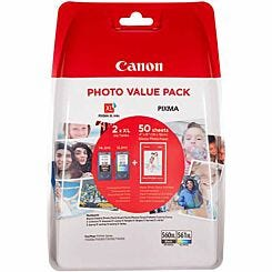 Canon PG-560XL/CL-561XL Black and Colour Original Ink Cartridge Value Pack with 50 Sheets 4x6 Paper