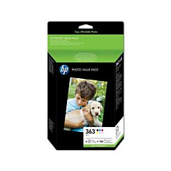 HP 363 Ink Cartridge Pack of 6 with 150 Sheets of Advanced Photo Paper 30ml Q7966EE