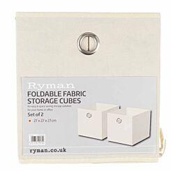 Ryman Fabric Storage Cube Pack of 2 Cream