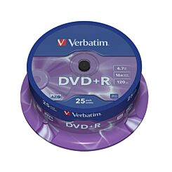 Verbatim DVD+R 16x Spindles 4.7GB Pack of 25