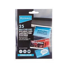 Ryman Laminating Pouches Business Cards 250 Micron 60x95mm Pack of 25