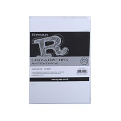 Ryman Cards and Envelopes C6 Pack of 50 White Deckled