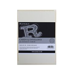 Ryman Cards and Envelopes C6 Pack of 50 Ivory Deckled