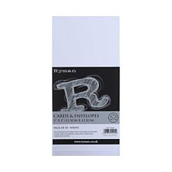 Ryman Cards and Envelopes 5x5 250gsm Pack of 50