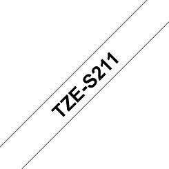 Brother TZES211 Black on White Tape