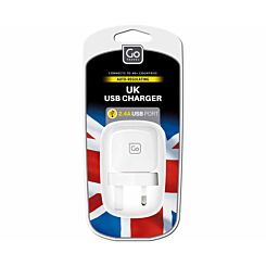 Go Travel 2.4A USB Charger Plug UK
