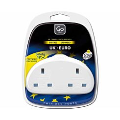Go Travel UK to EU Duo Plus USB Plug Adaptor