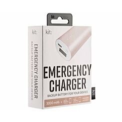 Kit Premium Emergency Charger 3000mAh Rose Gold