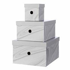 Ryman Storage Boxes Marble Design Set of 3