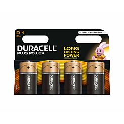 Duracell Plus Power D Batteries Pack of 4
