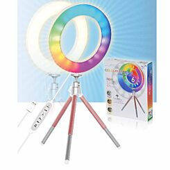 Mayhem LED Colour Ring Light 6 inch with Rose Gold Tripod