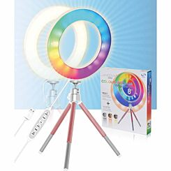 Mayhem LED Colour Ring Light 8 inch with Rose Gold Tripod