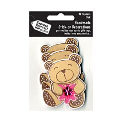 Express Yourself Brown Bear Handmade Stick-On Decorations Pack of 3