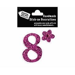 Express Yourself Number Sticker 8 Pink